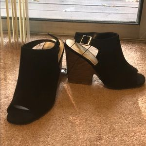 Heeled open toe booties